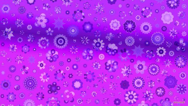 Purple wallpaper with flower pattern.