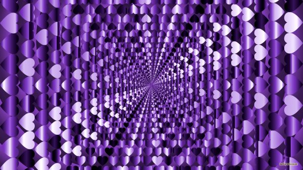 Purple wallpaper filled with hearts.