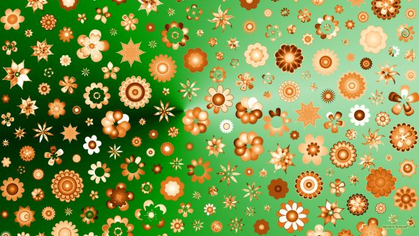 Green HD wallpaper with orange shapes