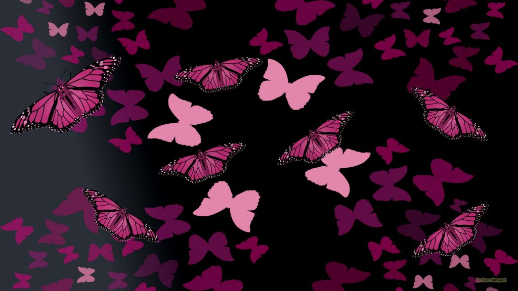Black wallpaper pink butterflies
