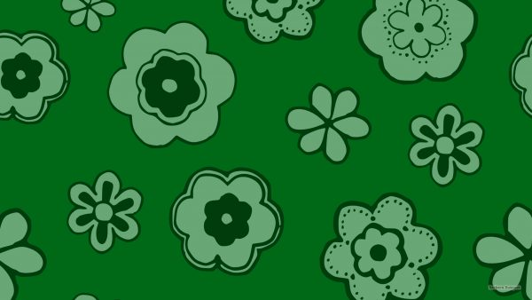 Green wallpaper with big flowers