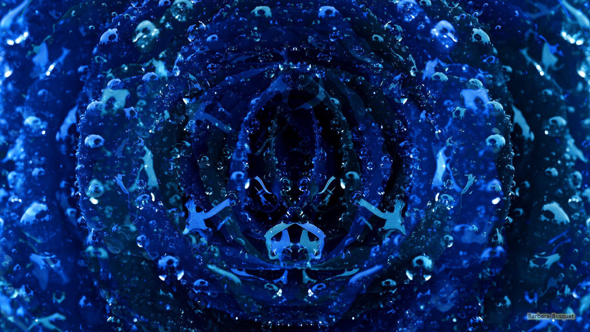 Dark blue abstract wallpaper with water drops.