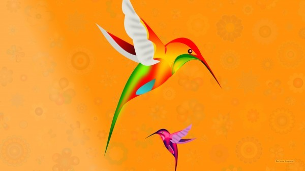 Desktop background flowers and bird