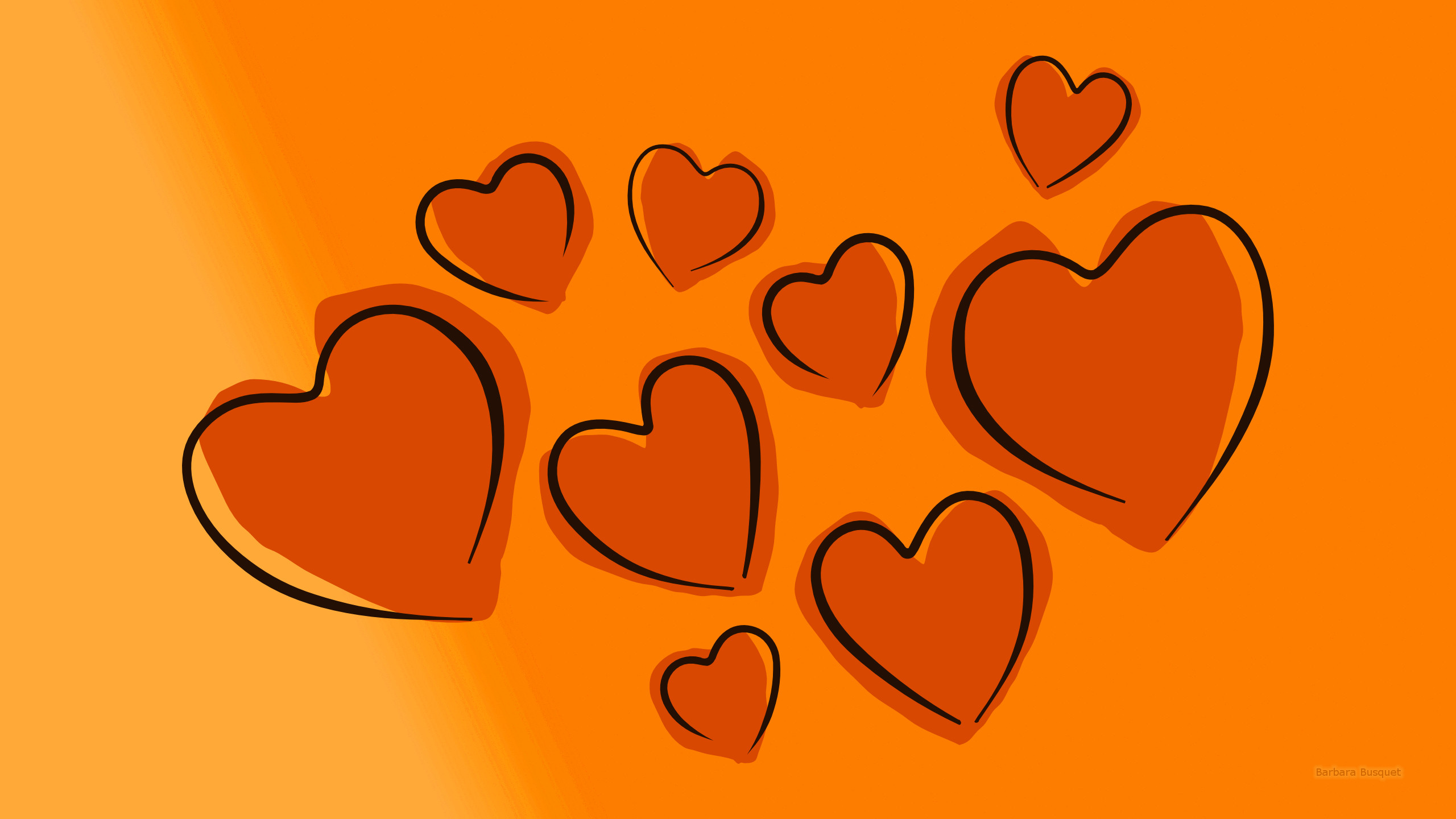HD wallpaper with hearts orange 1