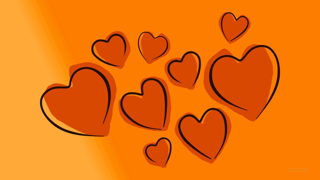 HD wallpaper with hearts orange