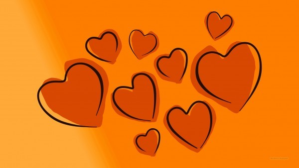 HD wallpaper with hearts orange