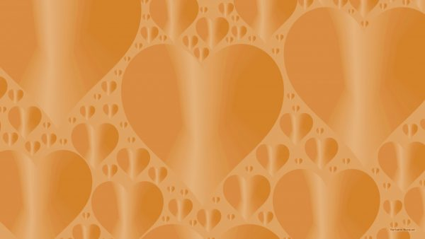 Orange wallpaper with heart pattern.