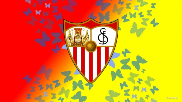 Red yellow Sevilla football wallpaper with butterflies