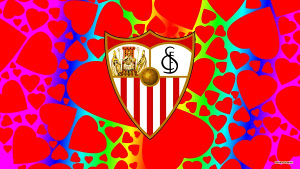 Sevilla logo wallpaper with red hearts