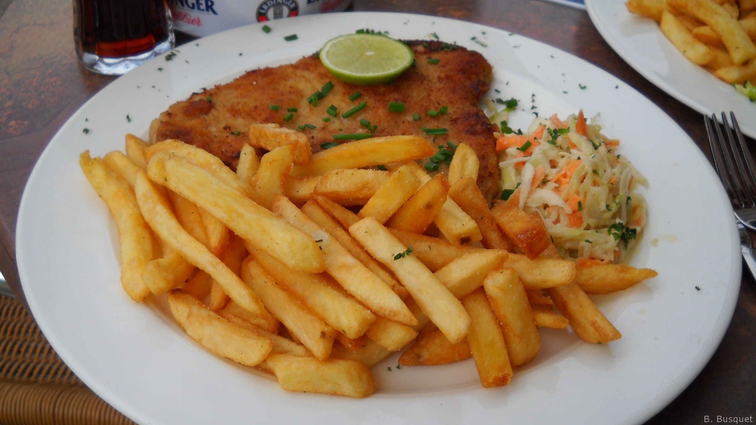... got a big plate with a Wiener schnitzel, french fries and some salad