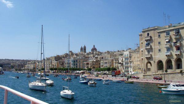 Boats moored in Malta harbor.