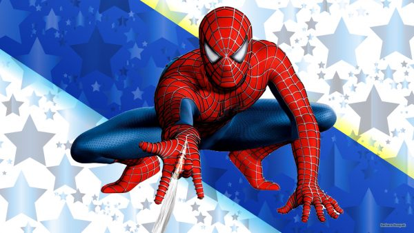 Blue white spiderman wallpaper with stars.