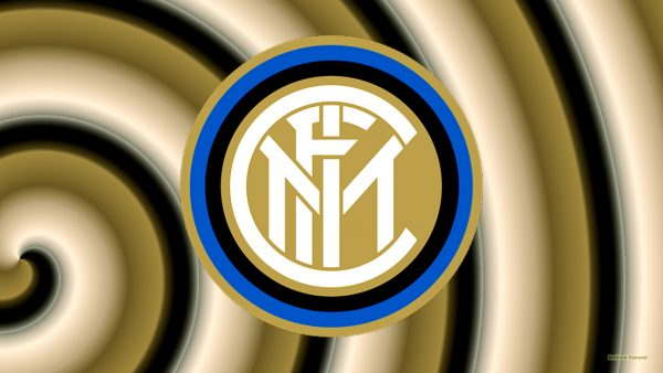 Brown with black spiral wallpaper with Internazionale logo.