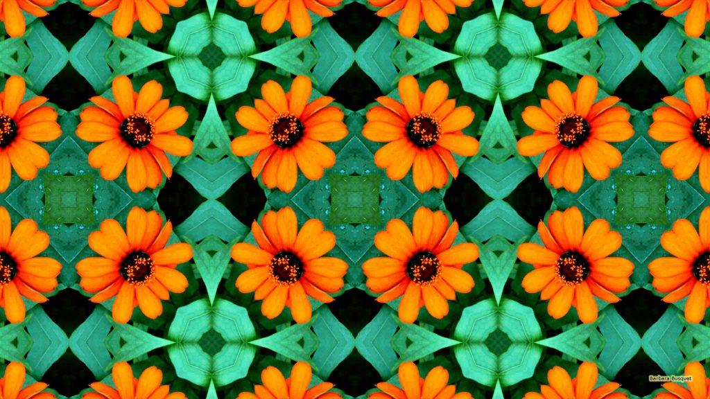 Wallpaper orange flower pattern