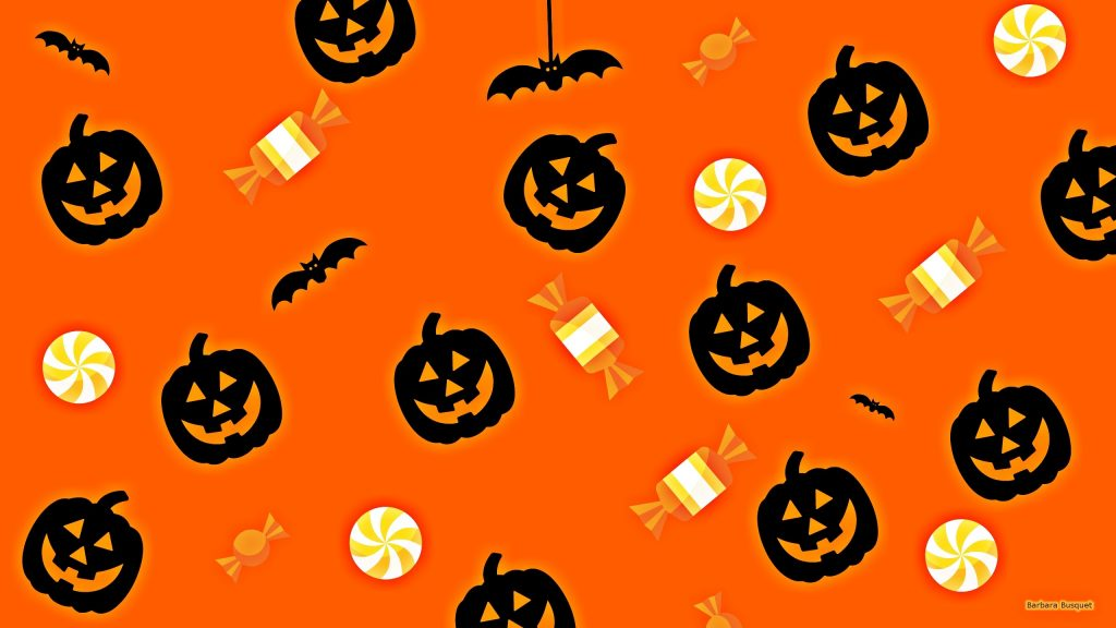 Halloween pattern wallpaper orange
