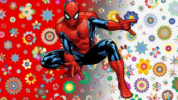Spiderman wallpaper with flowers
