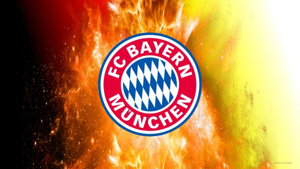Bayern Munchen wallpaper with fire explosion and German flag.