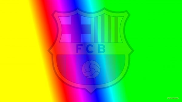 Colorful Barcelona football wallpaper with faded logo