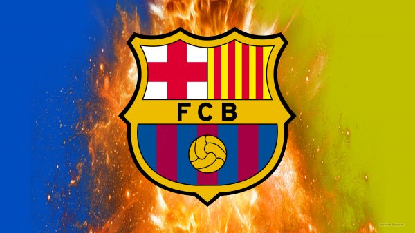 FC Barcelona wallpaper with fire explosion