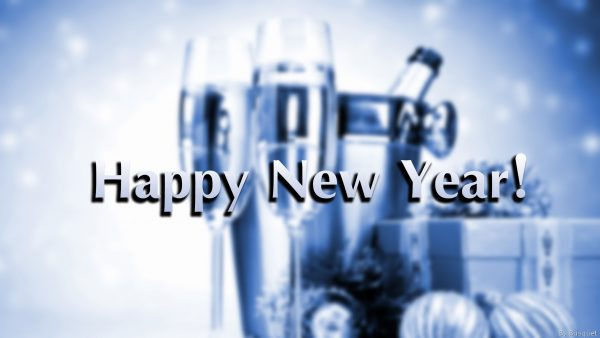 Happy New Year wallpaper with champagne