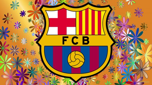 Orange FC Barcelona wallpaper with flowers