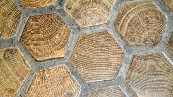 Pattern wallpaper wood stone floor