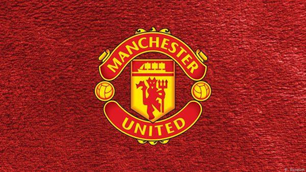 Red Manchester United logo wallpaper