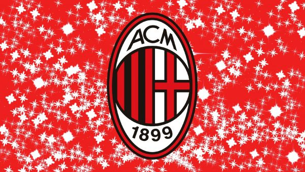 Red white wallpaper with the logo of the footbal club.
