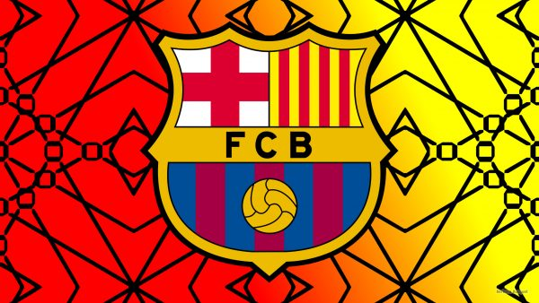 Red yellow FC Barcelona wallpaper with logo