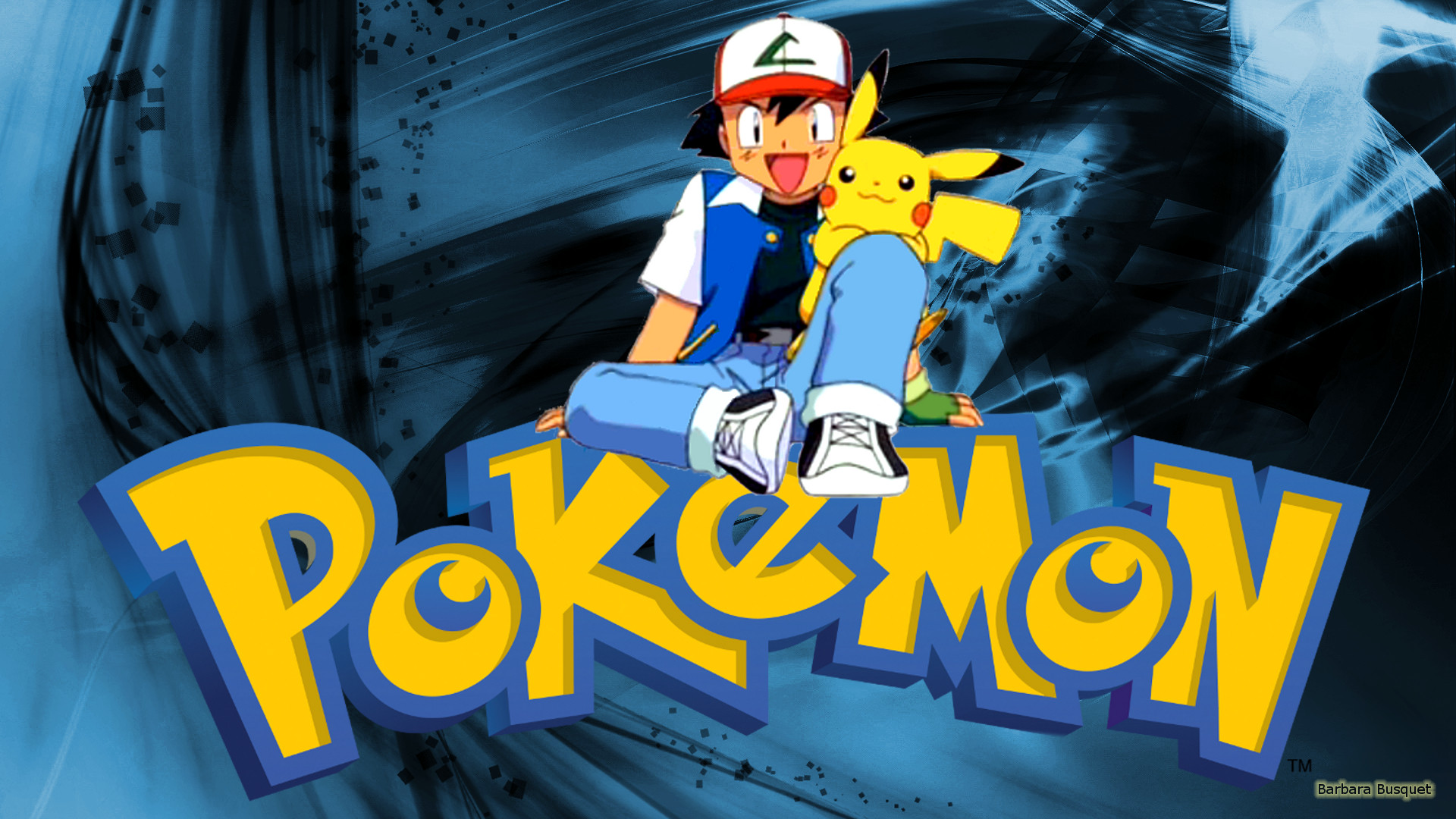 Blue Pokemon wallpaper with Ash