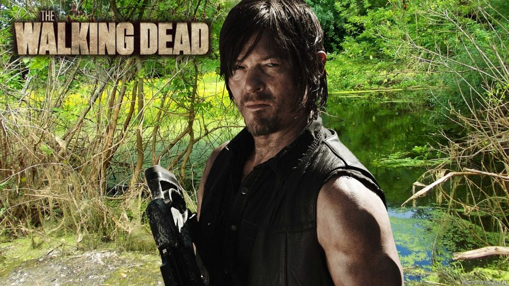 Daryl Dixon with crossbow in the swamp