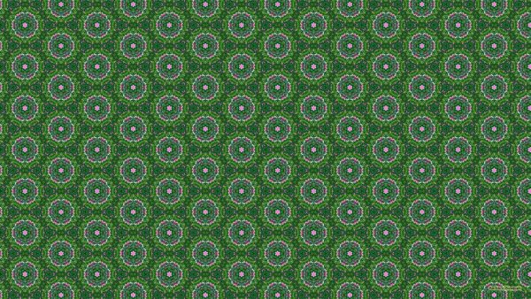 Green pattern wallpaper with circles and pink colors.