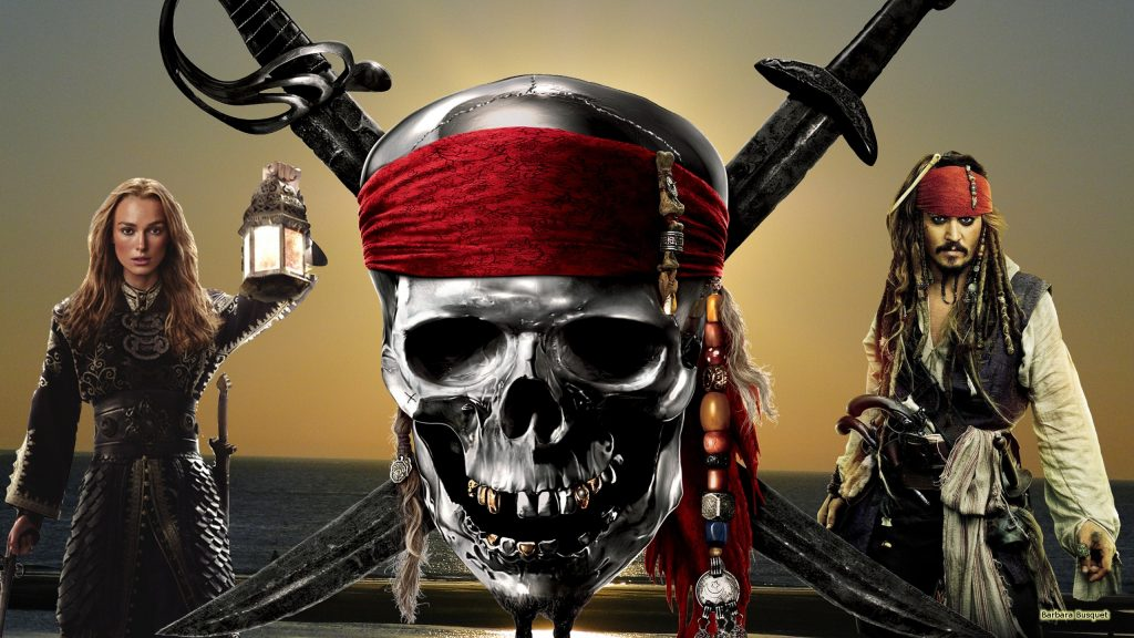 Wallpaper with Elizabeth Swann and Captain Jack Sparrow