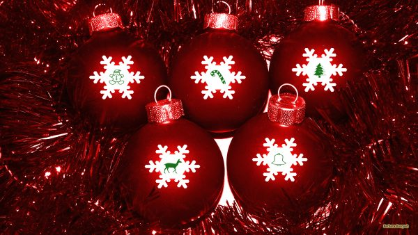 Red Christmas balls with tiny pictures