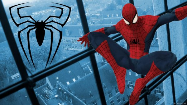Blue wallpaper with Spiderman and spider