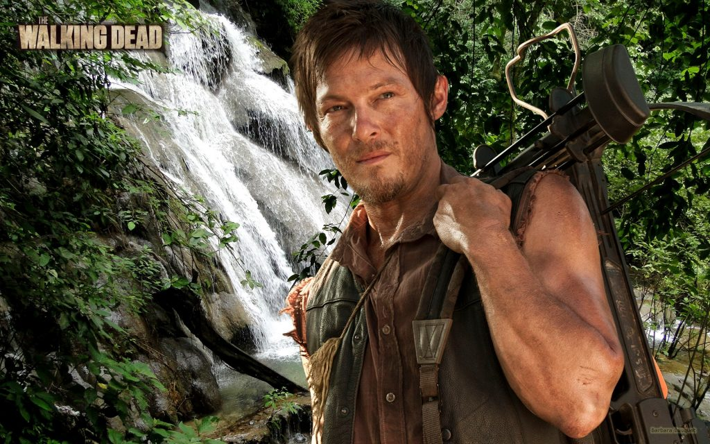 The Walking Dead with Daryl Dixon near waterfalls with crossbow
