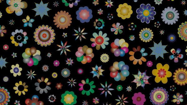 Black flowers pattern wallpaper