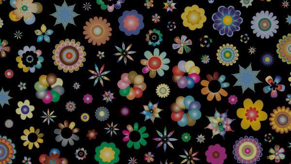 Black flowers pattern wallpaper
