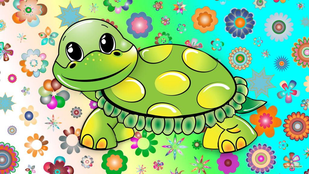 HD wallpaper turtle and flowers