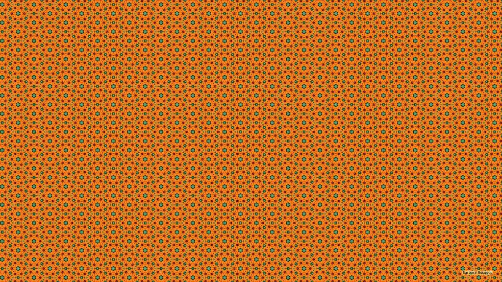 Pattern wallpaper with orange flowers.