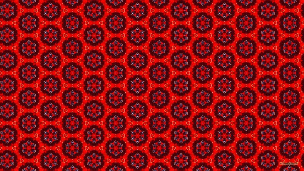Red pattern wallpaper with flowers and triangles.