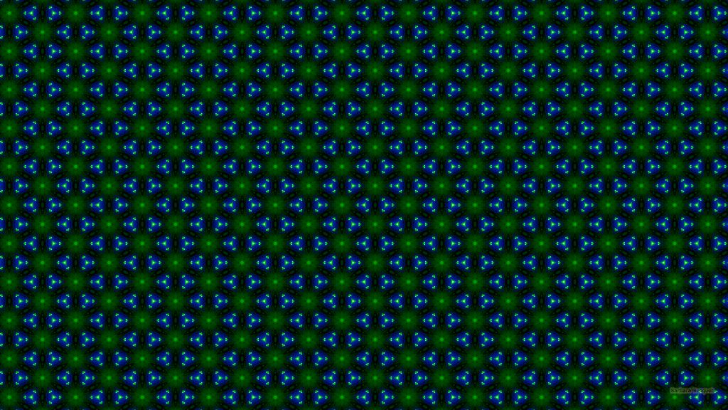 Triangles and flower pattern wallpaper in blue and green