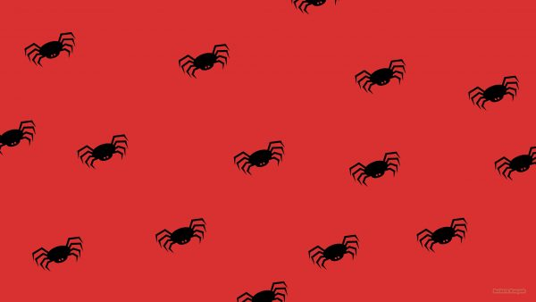 red wallpaper with spider pattern
