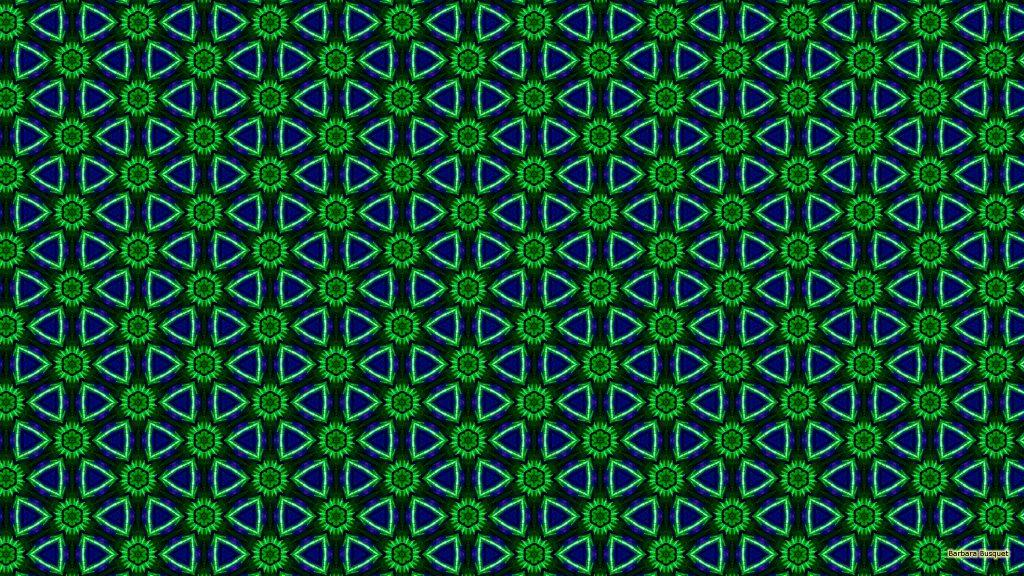 Blue green flowers pattern wallpaper
