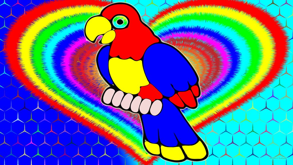 Colorful wallpaper parrot and heart