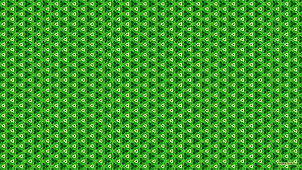 Green with yellow triangle pattern background.