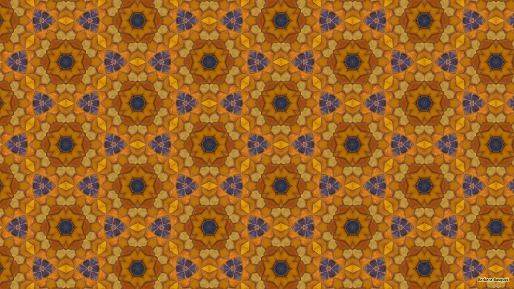 Orange blue mosaic wallpaper