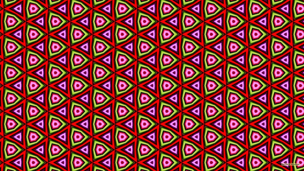 Triangle wallpaper in red green and pink colors.