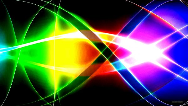 Abstract spectrum colors wallpaper with a black background.