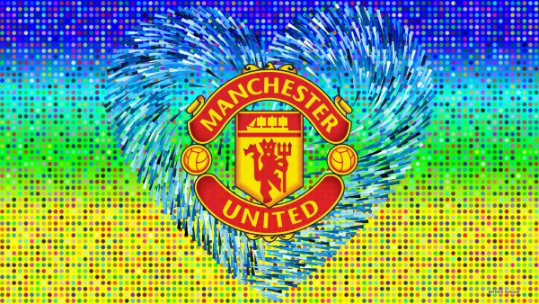 Blue yellow Manchester United logo wallpaper.